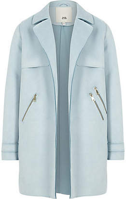 River Island Light Blue faux suede trench coat