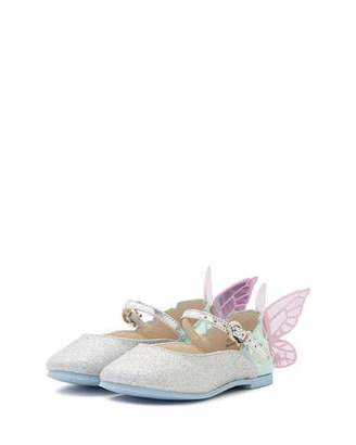 Sophia Webster Chiara Glittered Butterfly-Wing Flat, Toddler/Youth Sizes 5T-3Y