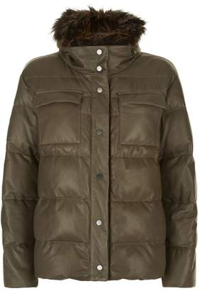 Brunello Cucinelli Quilted Leather Jacket with Fur Collar