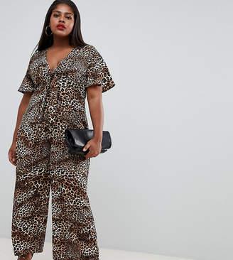 91d7bf0923b Fashion Union Plus plus wide leg jumpsuit in leopard