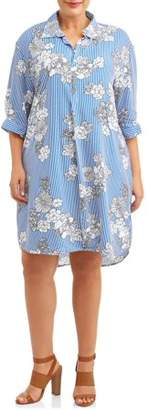 New Look Women's Plus Size Printed Button Up Placket Dress