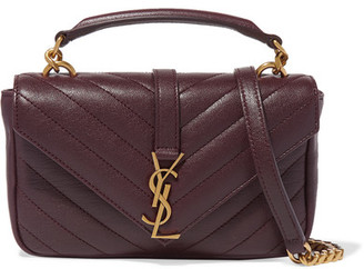 Saint Laurent - College Quilted Leather Shoulder Bag - Burgundy $1,250 thestylecure.com