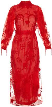 Simone Rocha Spooky flower-embroidered long-sleeved dress