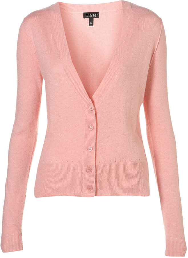 Topshop Knitted Pointelle Detail Cardi