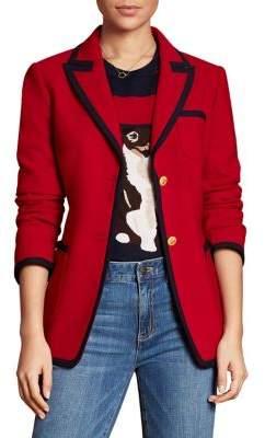 Brooks Brothers Red Fleece Wool-Blend Trimmed Blazer