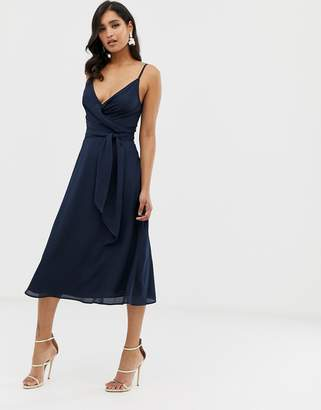 Asos Design DESIGN cami wrap midi dress with tie waist