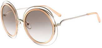 Chloe Carlina Trimmed Round Sunglasses $346 thestylecure.com