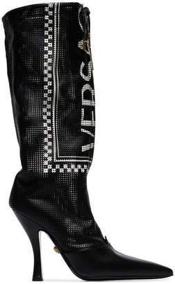 Versace black logo 105 leather boots
