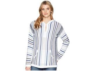 Chaps Striped Hooded Sweater Women's Sweater