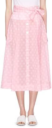 Lisa Marie Fernandez Sash tie polka dot cotton beach skirt