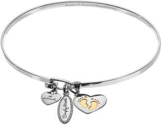 "Hallmark Sterling Silver ""Simply Blessed"" & Newborn Charm Bangle Bracelet"