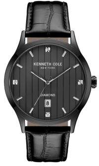Kenneth Cole Diamond Analog Stainless Steel Analog Leather Strap Watch