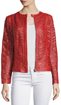 Neiman Marcus Striped Leather Jacket, Red $425 thestylecure.com