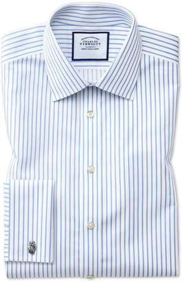 Charles Tyrwhitt Extra Slim Fit Non-Iron Sky Blue Stripe Twill Cotton Dress Shirt Single Cuff Size 14.5/33