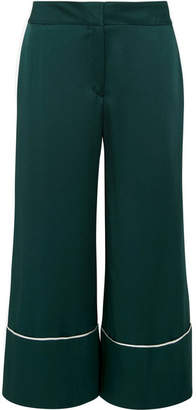 Monse Cropped Hammered-satin Wide-leg Pants - Emerald