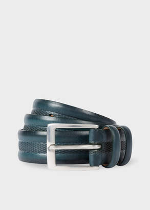Paul Smith Men's Teal Embossed Geometric Pattern Leather Belt