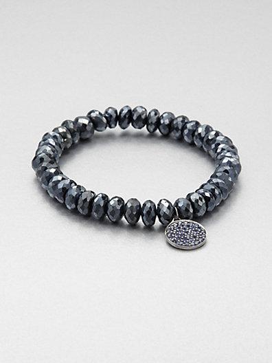 Sydney Evan Sapphire & Rhodium Almandine Garnet Beaded Stretch Bracelet