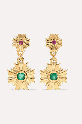 Meadowlark - August Gold-plated, Ruby And Emerald Earrings