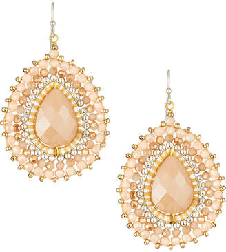 Nakamol Layered Crystal Pear Drop Earrings, Cream