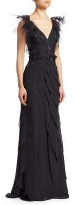 Teri Jon by Rickie Freeman Embellished Tiered Chiffon Gown