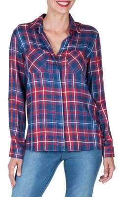 Haggar Long-Sleeve Plaid Button-Down Shirt