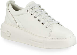 Salvatore Ferragamo Senise Leather Sneakers with Gancio Heel