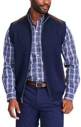 Chaps Big & Tall Classic-Fit Suede-Trim Sweater Vest