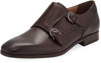 Salvatore Ferragamo Men's Blair Gancini-Buckle Leather Double-Monk Shoe