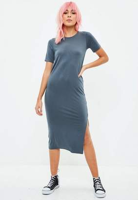 Missguided Gray Side Split T Shirt Midi Dress