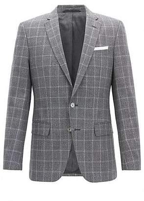 HUGO BOSS Slim-fit blazer in virgin wool with contrast pocket square