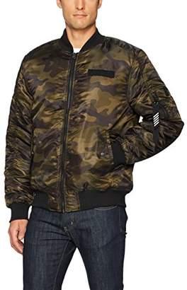 Southpole Men's Big & Tall Nylon Bomber MA-1 Jacket With Utility Zippered Pocket On Sleeve