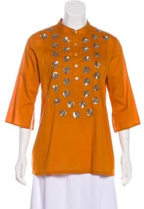 Figue Embellished Three-Quarter Sleeve Top