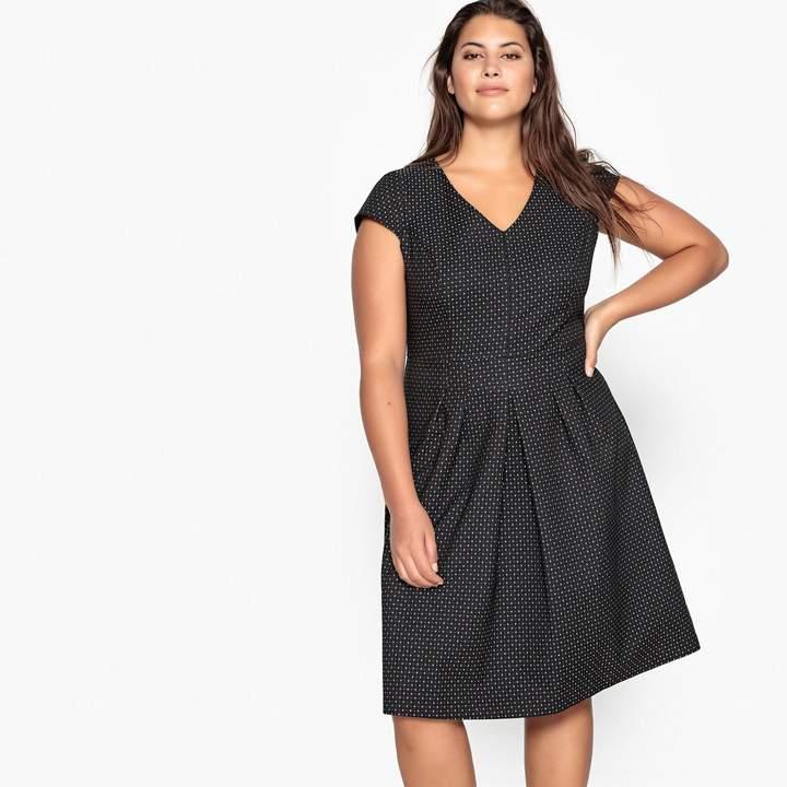 CASTALUNA PLUS SIZE Flared Jacquard Polka Dot Midi Dress