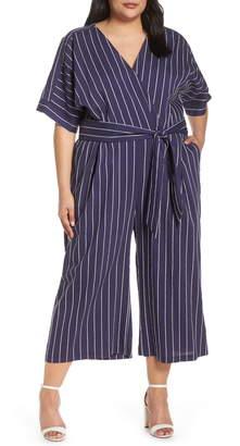 Chelsea28 Stripe Kimono Sleeve Jumpsuit
