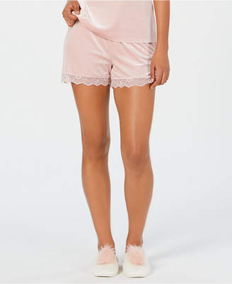 INC International Concepts I.n.c. Lace-Trim Velvet Pajama Shorts