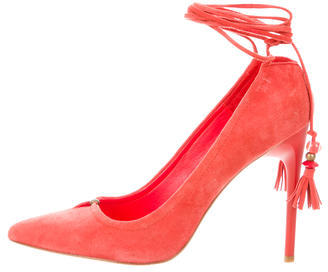 B Brian Atwood Suede Pointed-Toe Pumps $125 thestylecure.com