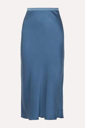 Anine Bing Bar Silk-satin Midi Skirt - Blue