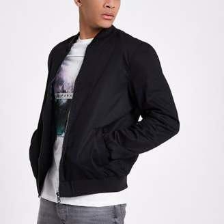 River Island Mens Black bomber jacket