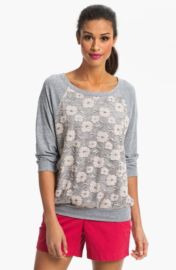 Bobeau Lace Front Sweatshirt