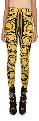 Versace Baroque-Print Stretch Leggings