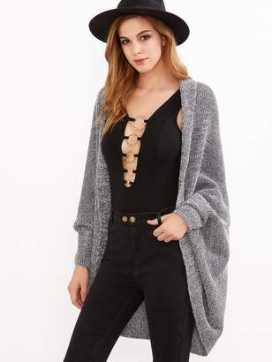 Shein Gray Marled Shawl Collar Open Front Cocoon Cardigan