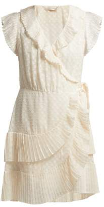 Zimmermann Plisse Trim Wrap Mini Dress - Womens - Cream