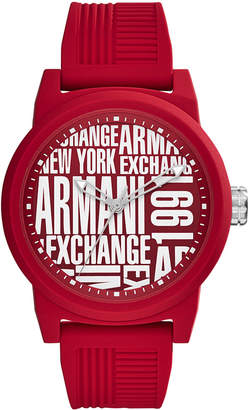 Armani Exchange Men's Red Silicone Strap Watch 46mm