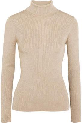 3.1 Phillip Lim Metallic Ribbed-knit Turtleneck Sweater - Beige