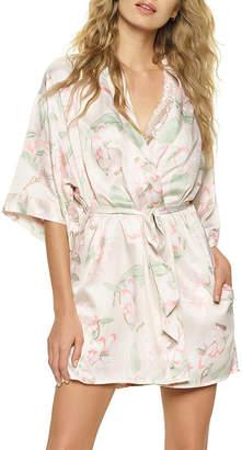 Jezebel Womens Satin Robes 3/4 Sleeve Short Length Kimono