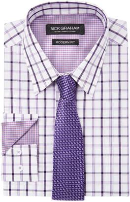 Nick Graham Men Fitted Windowpane Dress Shirt & Textured Tie Set