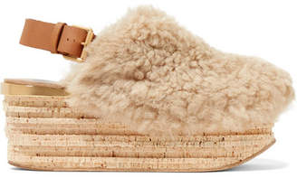 Chloé Camille Leather-trimmed Shearling Platform Slingback Sandals - Beige