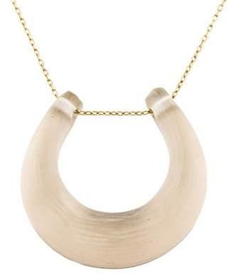 Alexis Bittar Citrine & Lucite Horseshoe Pendant Necklace