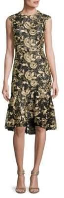 Monique Lhuillier Printed Cap-Sleeve Dress