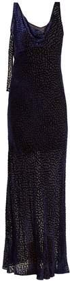 Diane von Furstenberg Polka-dot fil-coupé cowl-neck gown